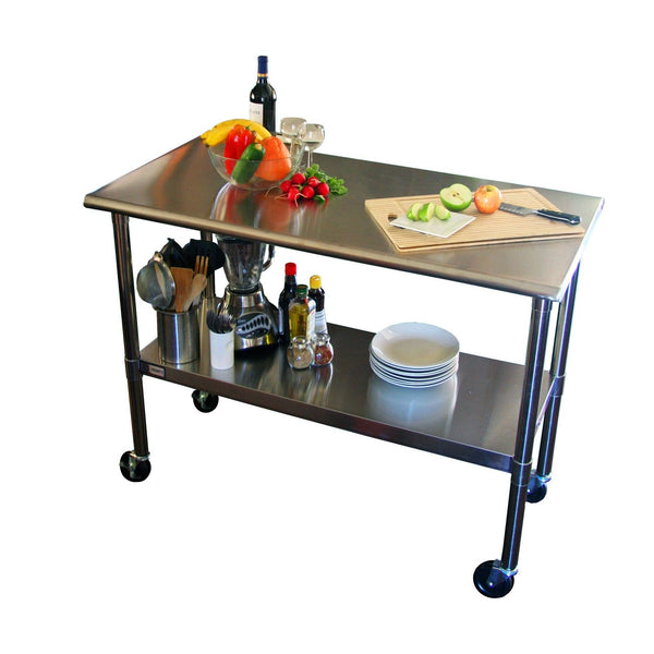 2FT X 4FT Stainless Steel Top Kitchen Prep Table With Locking Casters Wheels