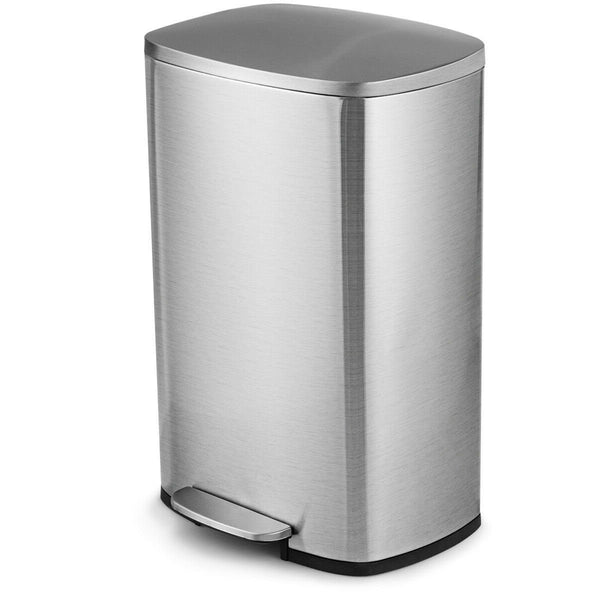 13-Gallon Modern Stainless Steel Kitchen Trash Can with Foot Step Pedal Design