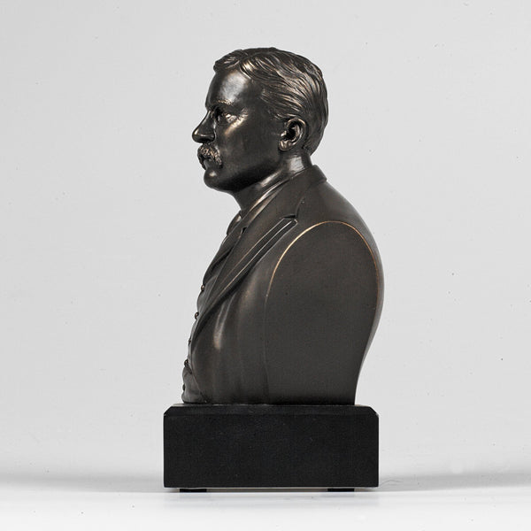 6 Inch High Theodore Roosevelt Bust Sculpture Statue In Bronze Finish