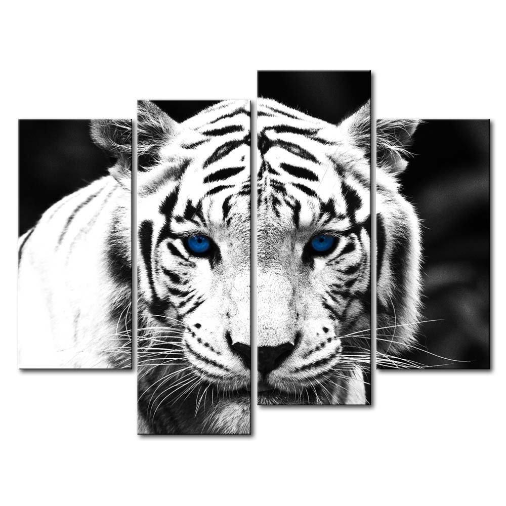 Black & White Tiger 4-Panel Canvas Wall Art Painting Print