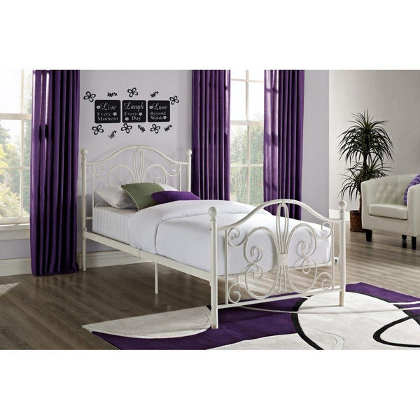 Twin White Metal Platform Bed Frame With Headboard & Footboard
