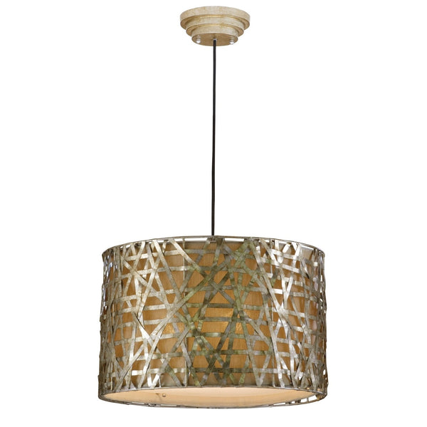 Modern 3-Light Drum Ceiling Pendant Light, Champagne Satin Metal Finish