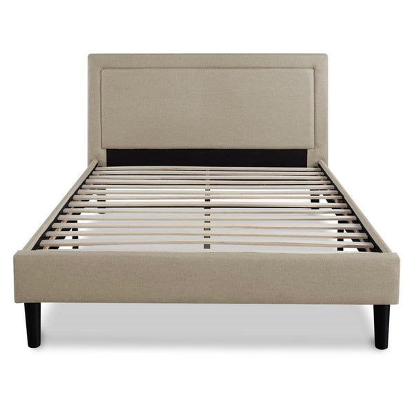 King Size Taupe Upholstered Classic Platform Bed With Classic Headboard
