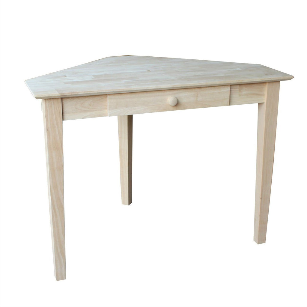 Unfinished Wood Corner Desk Laptop Computer Writing Table With Drawer