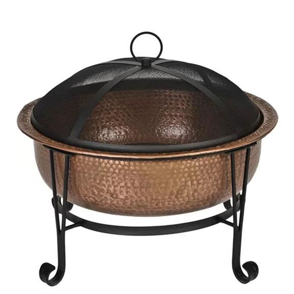 Hammered Copper 26-inch Fire Pit with Stand and Spark Screen