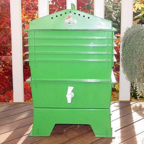 Green 5-Tray Vermicompost Worm Composter with Compost Tea Spigot