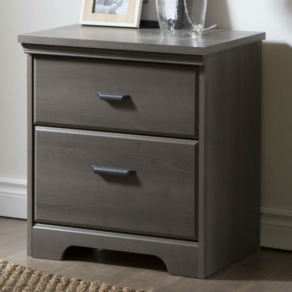 2-Drawer Bedroom Nightstand In Gray Maple Wood Finish