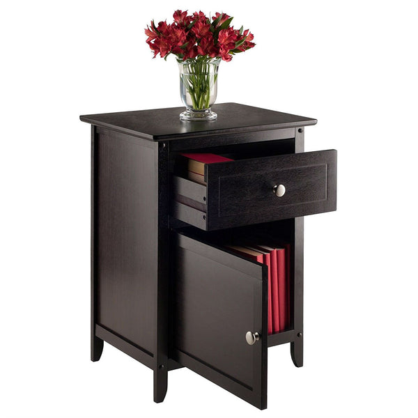 Espresso Wood End Table Nightstand Accent Table