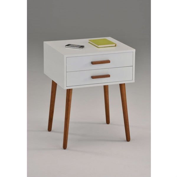 Modern Mid-Century Style Nightstand End Table in White & Oak Wood Finish