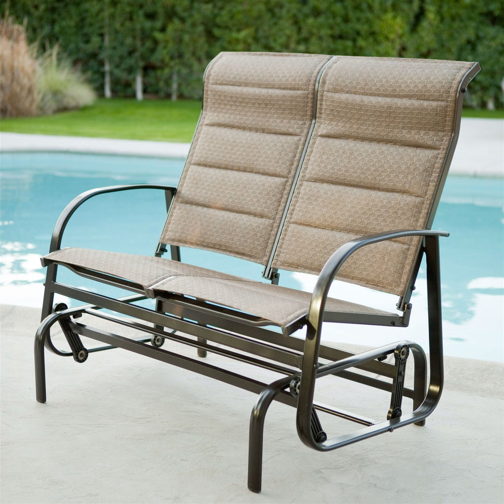 Weatherproof Outdoor Loveseat Glider Chair With Padded Sling Seats In Bronze