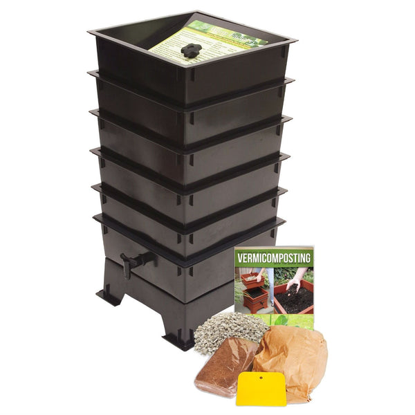 Worm Factory 5-Tray Compost Bin With Worm Tea Spigot - Black