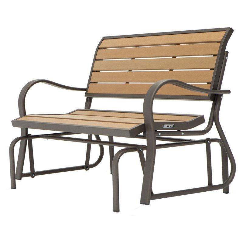 4-Ft Weather-Resistant Outdoor Loveseat Glider Bench in Wood Grain