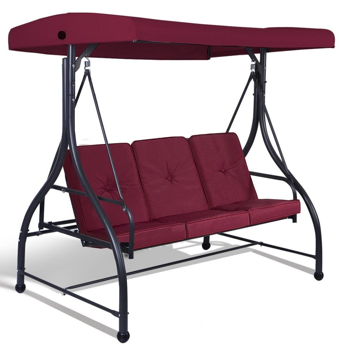 Red Burgundy Wine 3 Seat Cushioned Porch Patio Canopy Swing Chair