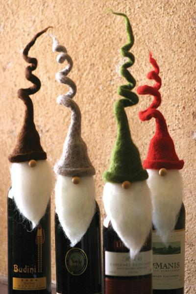 Set Of 4 Felt Santa Wine Toppers With Curly Hats