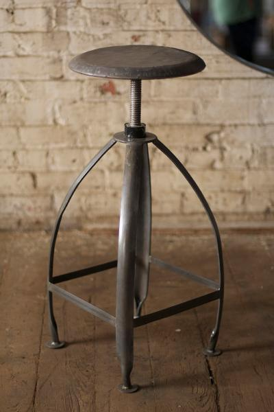 Metal Stool With Adjustable Top - Raw Top With Raw Base