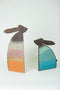 Set Of 2 Rustic Metal Rabbits With Colored Detail