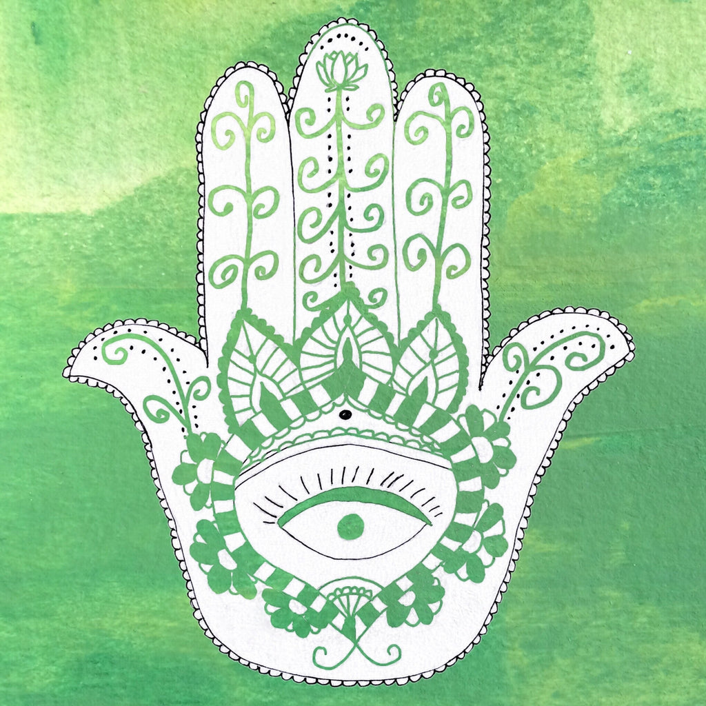 Hamsa Wood Print: Blessings of Protection, Luck, Feminine Power - Green