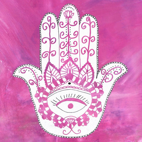 Hamsa Wood Print: Blessings of Protection, Luck, Feminine Power - Magenta