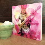 Saraswati Wood Print: Blessings for Creative Projects