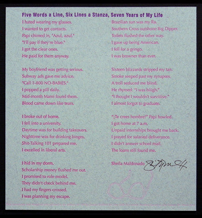 Five Words a Line, Six Words a Stanza, Seven Years of My Life by Sheila Maldonado