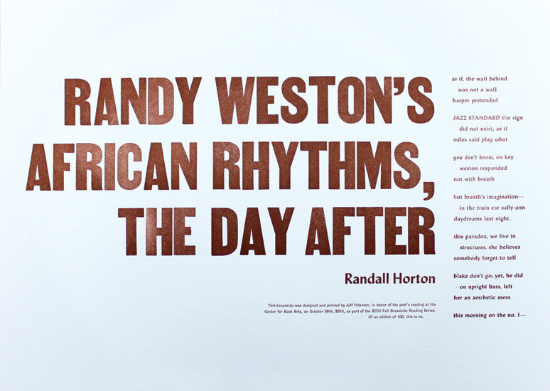 Randy Weston's African Rhythms, the Day After by Randall Horton