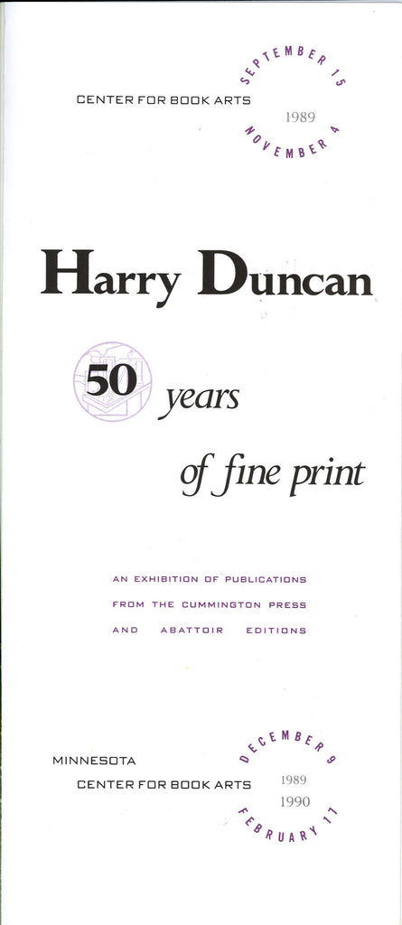 Harry Duncan: Fifty Years of Fine Print