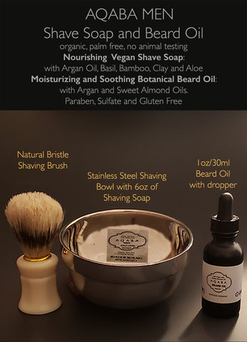 AQABA SHAVE SOAP and BEARD OIL - Free USA Shipping