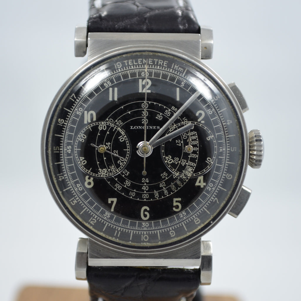 Longines Art Deco Steel Chronograph Snap Back with Flexible Lugs Wristwatch