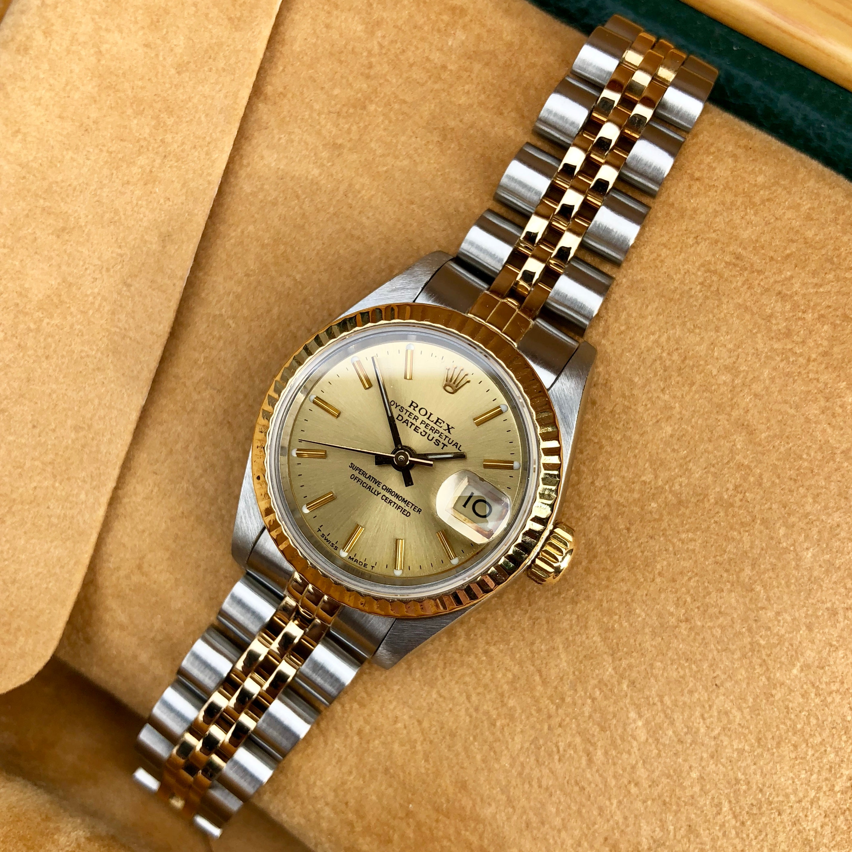 c4d667ab9ed ... Rolex Datejust 69173 Ladies Two Tone Champagne Stick Dial Steel 18K  Gold Jubilee Wristwatch
