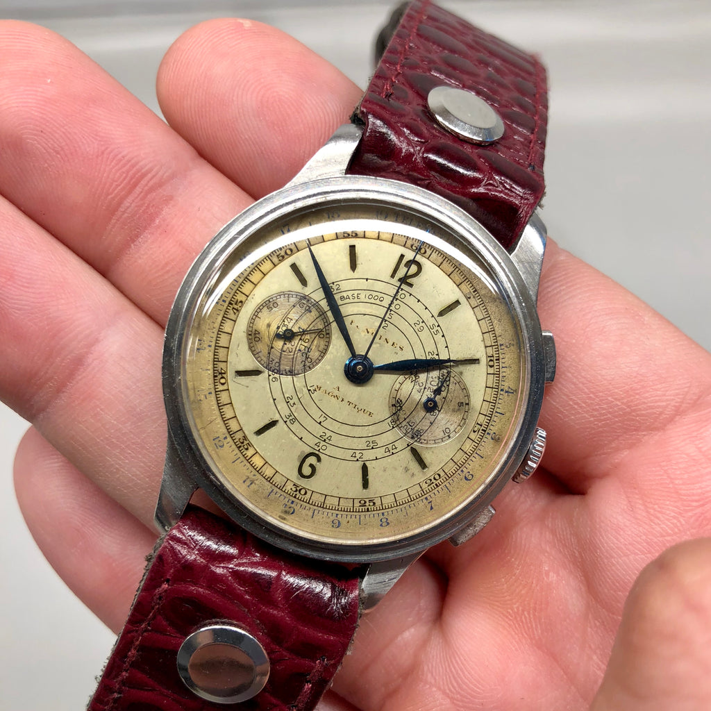 Vintage Longines 13ZN Stainless Steel Sandwhich Dial Chronograph 37mm Wristwatch - Hashtag Watch Company