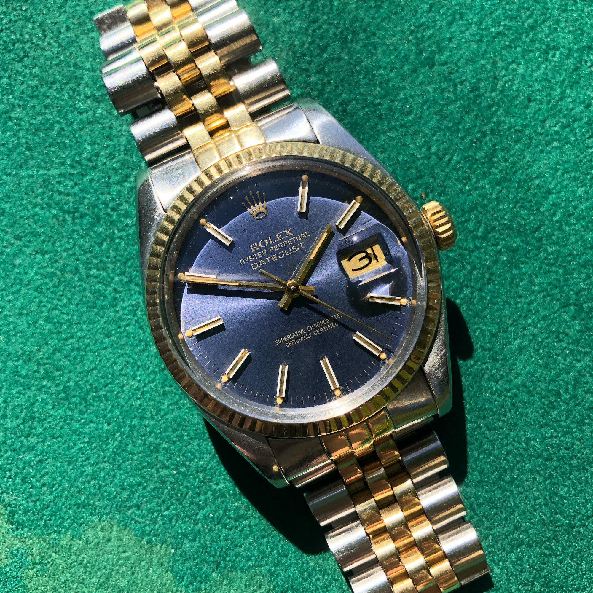Vintage Rolex Datejust 16013 Steel Gold Two Tone Jubilee Tropical Automatic Wristwatch Circa 1980 - Hashtag Watch Company