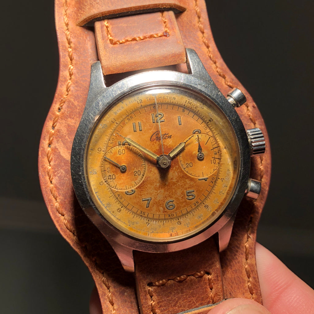 Vintage Croton Clamshell Steel Chronograph Sunburst Patina Manual Wristwatch