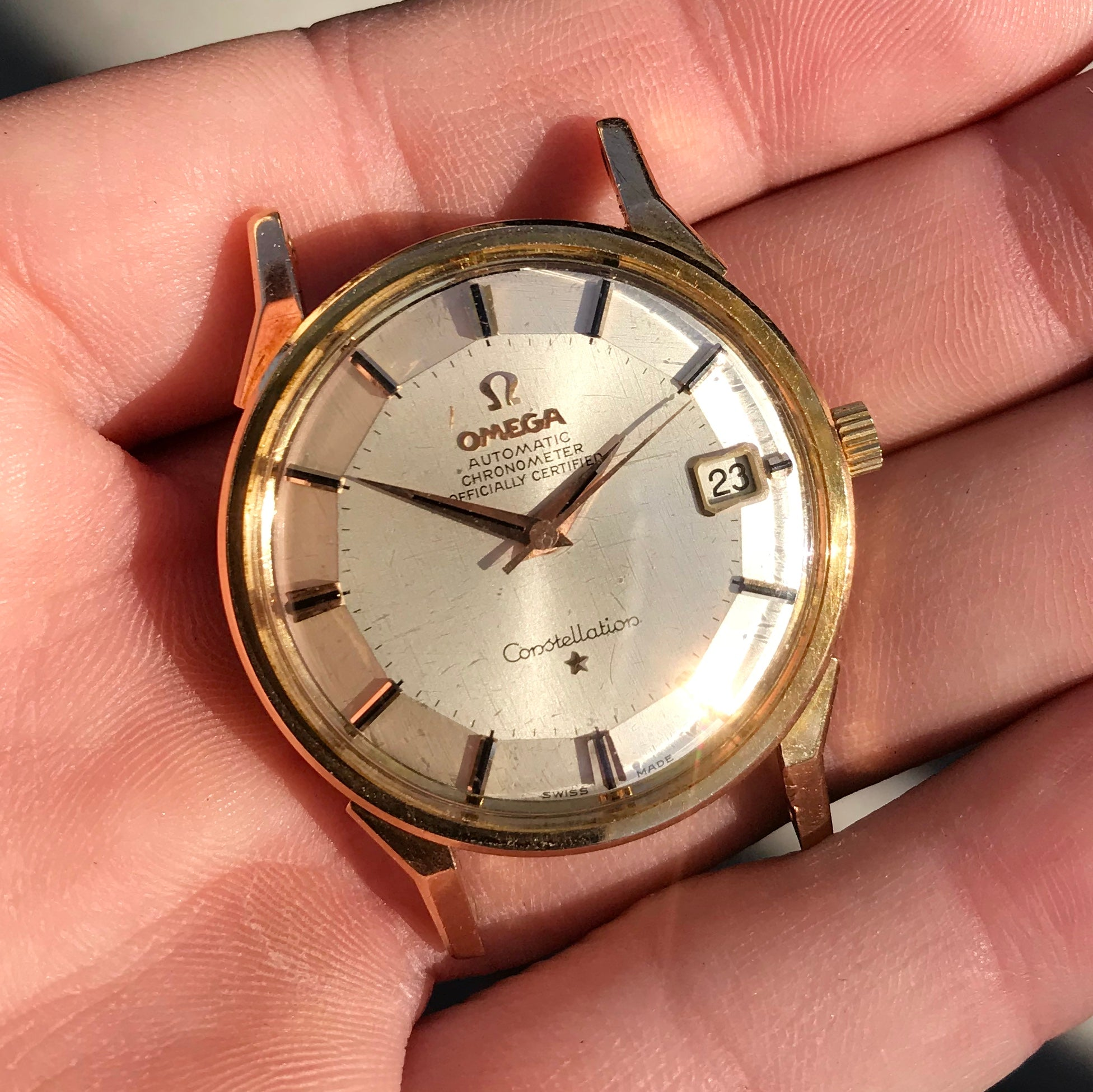 Vintage Omega Constellation Date 1683005 18K Yellow & Pink Gold Caliber 561 Automatic Wristwatch