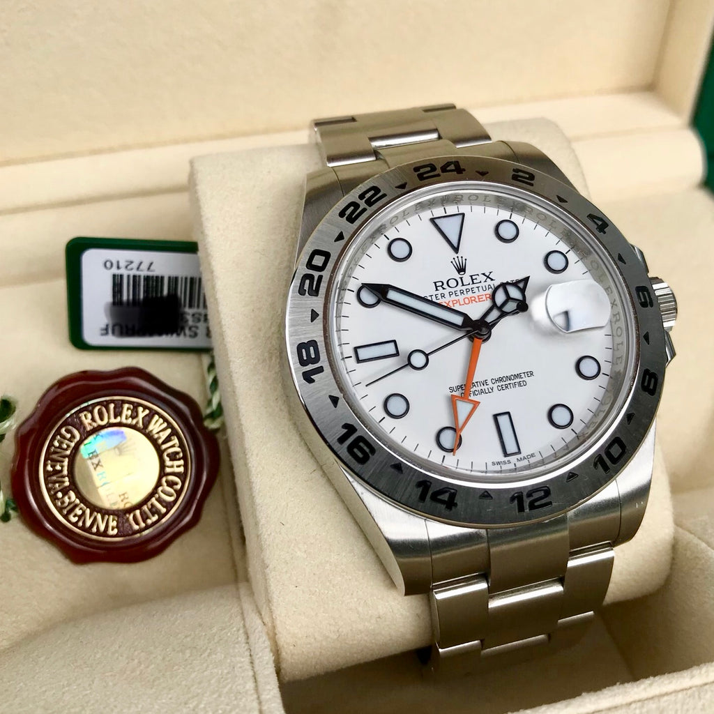 Rolex Explorer II 216570 White GMT Oyster Stainelss Steel Wristwatch Box & Papers Random Serial