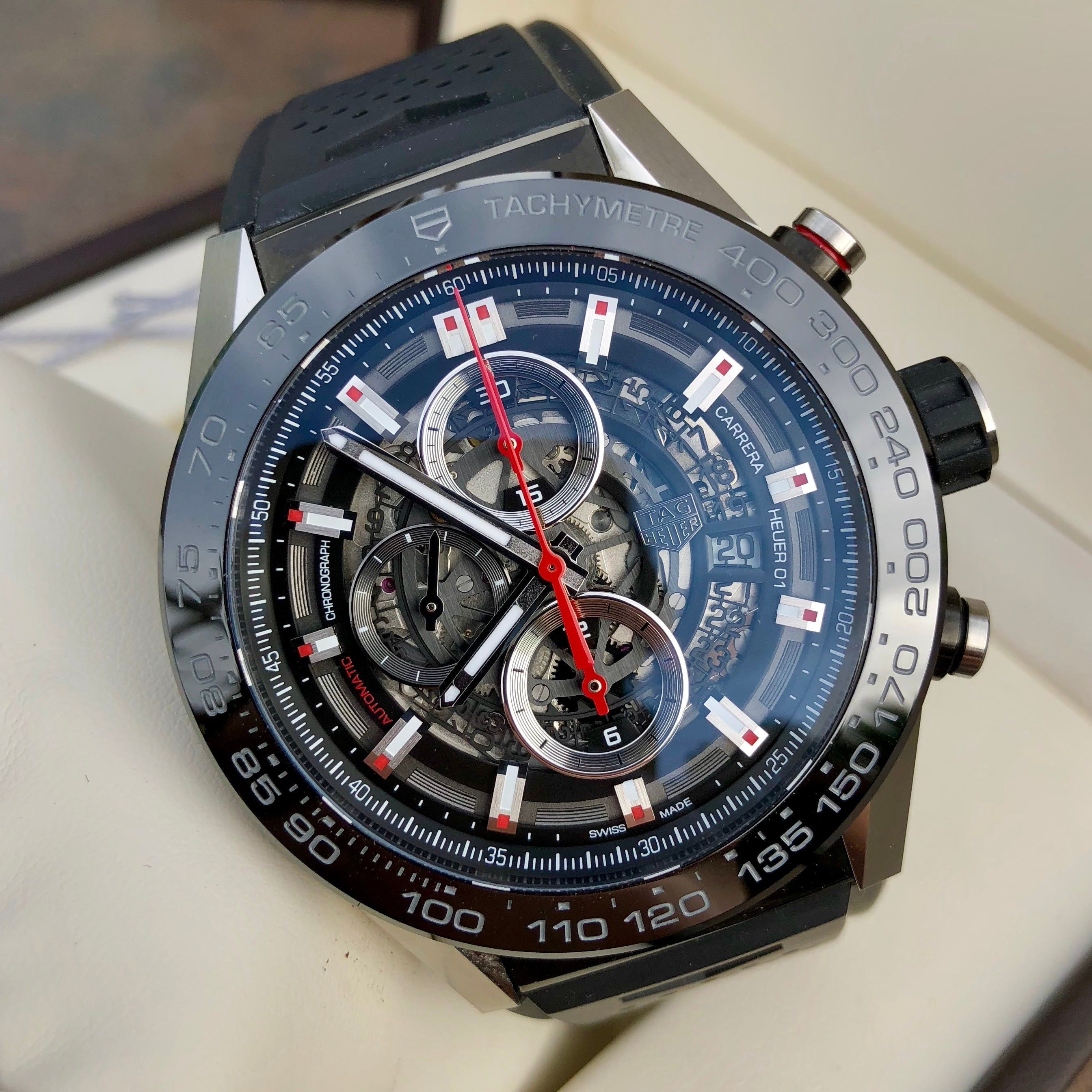 Tag Heuer Carrera CAR2A1Z Calibre Heuer 01 Automatic  Skeleton Dial Chronograph Wristwatch