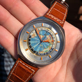 Vintage Eterna Geoscope GMT Stainelss Steel Automatic 48mm World Map Wristwatch
