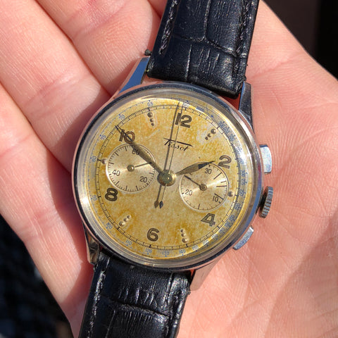 Vintage Tissot CH27 Chronograph 6212 Stainless Steel 35mm Wristwatch Rare Dial