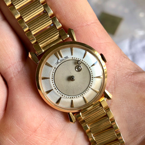 Vintage LeCoultre Mystery Dial 14K Yellow Gold Fancy Lugs Wristwatch Circa 1950s