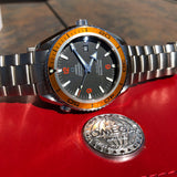 Omega Seamaster 2208.50 Orange Bezel 45.5mm Co-Axial Steel Wristwatch Box & Papers - Hashtag Watch Company