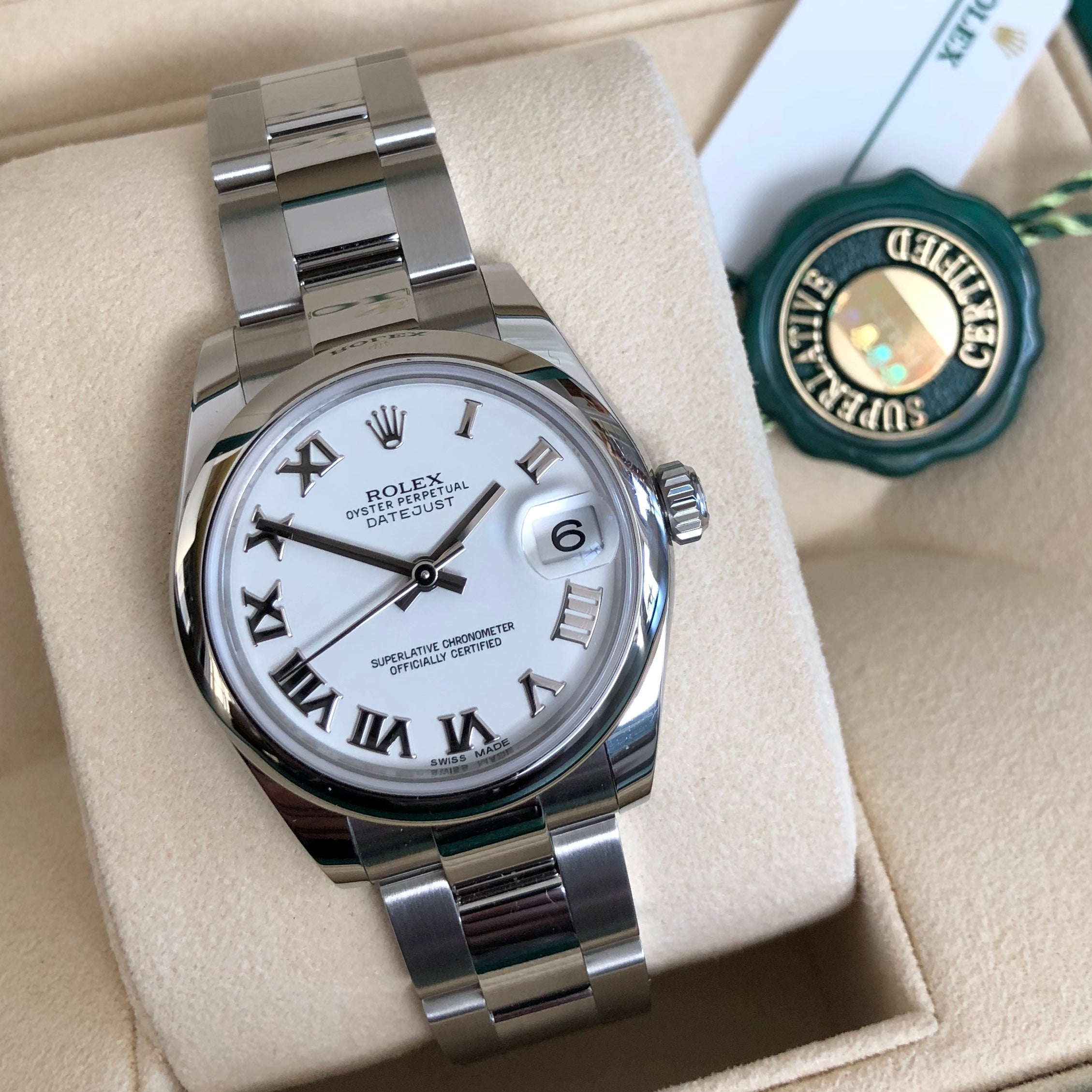 Rolex Datejust 178240 Ladies Steel 31mm Midsize White Roman Wristwatch Box Papers - Hashtag Watch Company