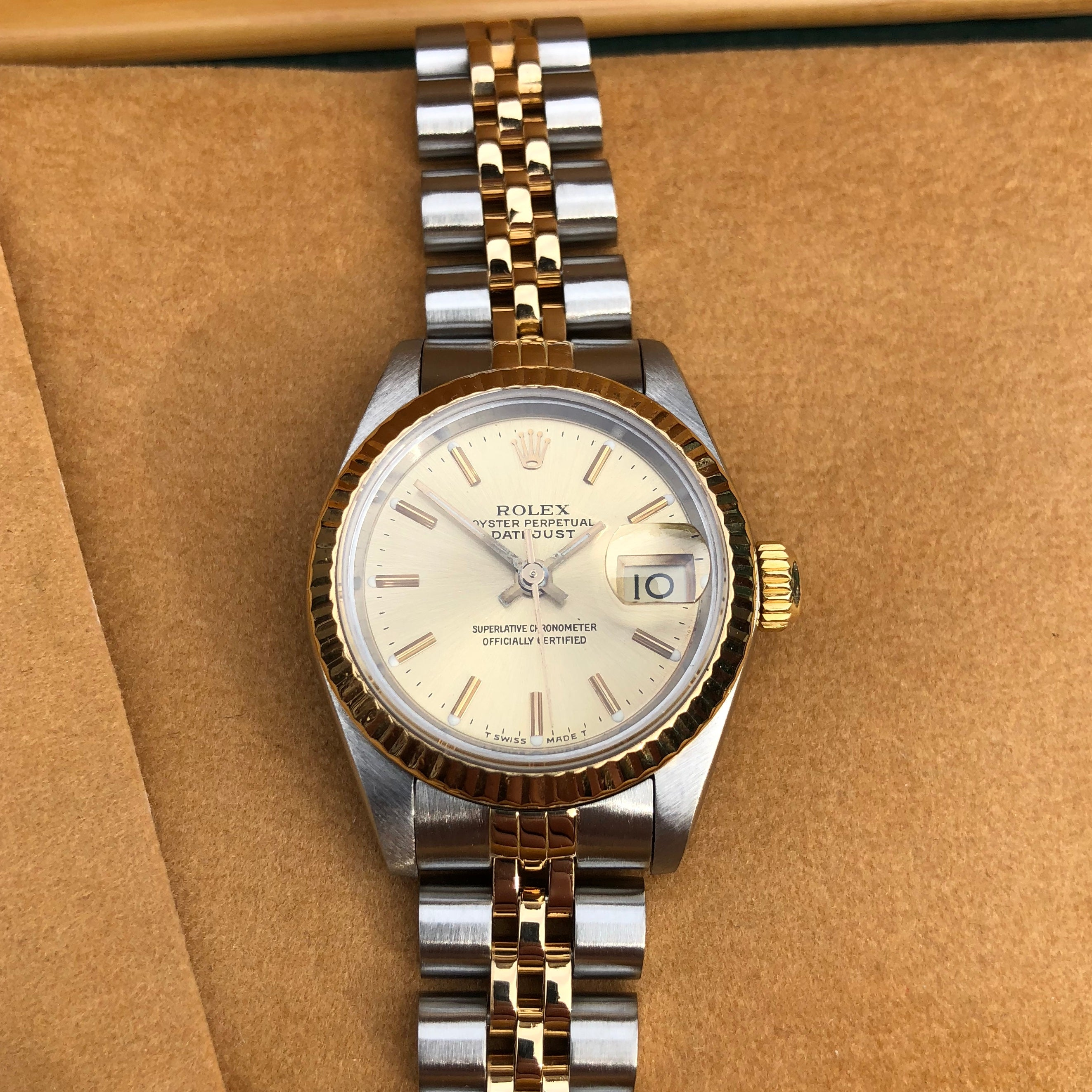 88ac5d818d9 ... Rolex Datejust 69173 Ladies Two Tone Champagne Stick Dial Steel 18K  Gold Jubilee Wristwatch ...