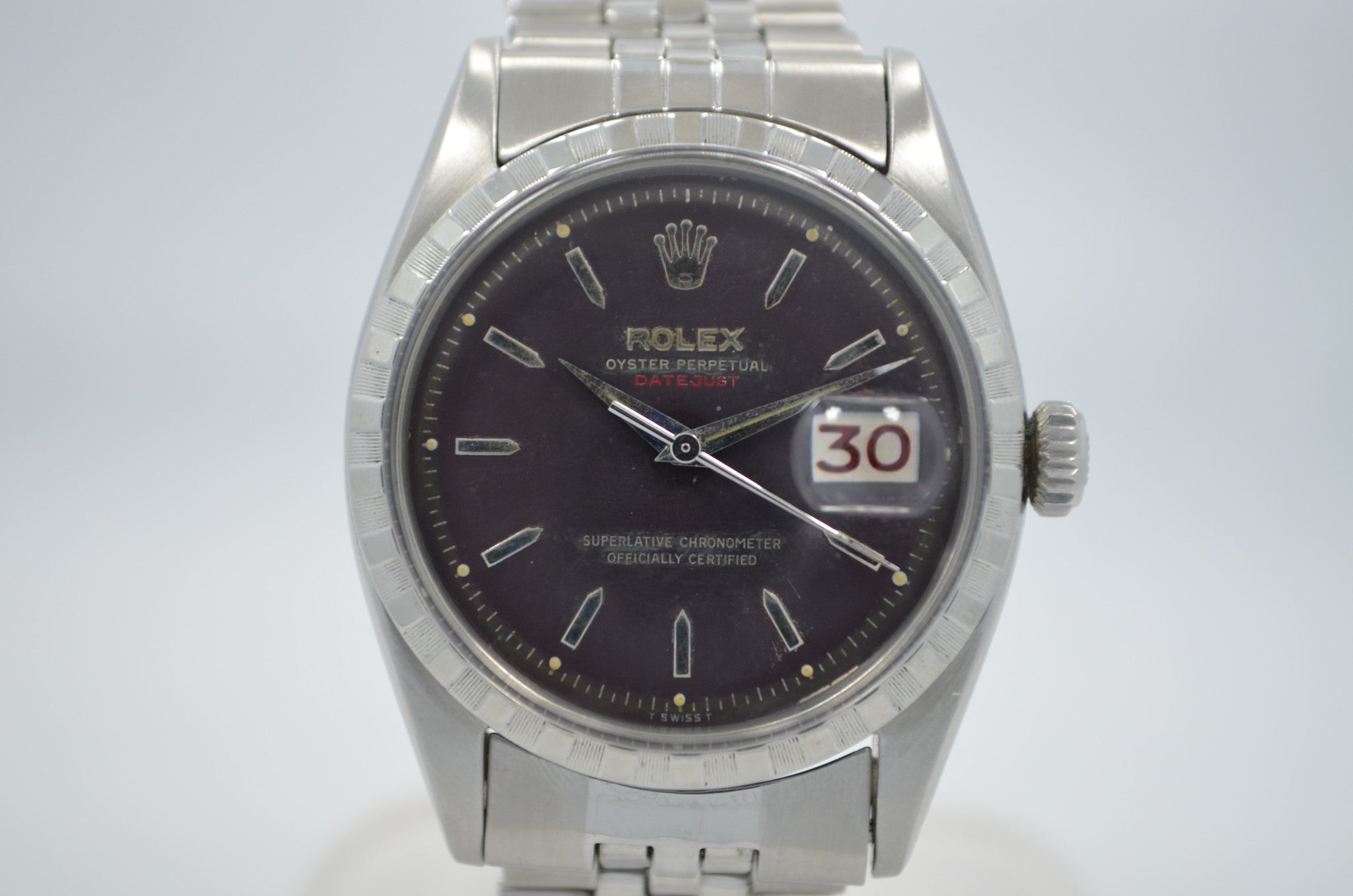 Vintage Rolex 6605 Red DateJust Steel Jubilee Checkerboard Bezel 1958 Wristwatch