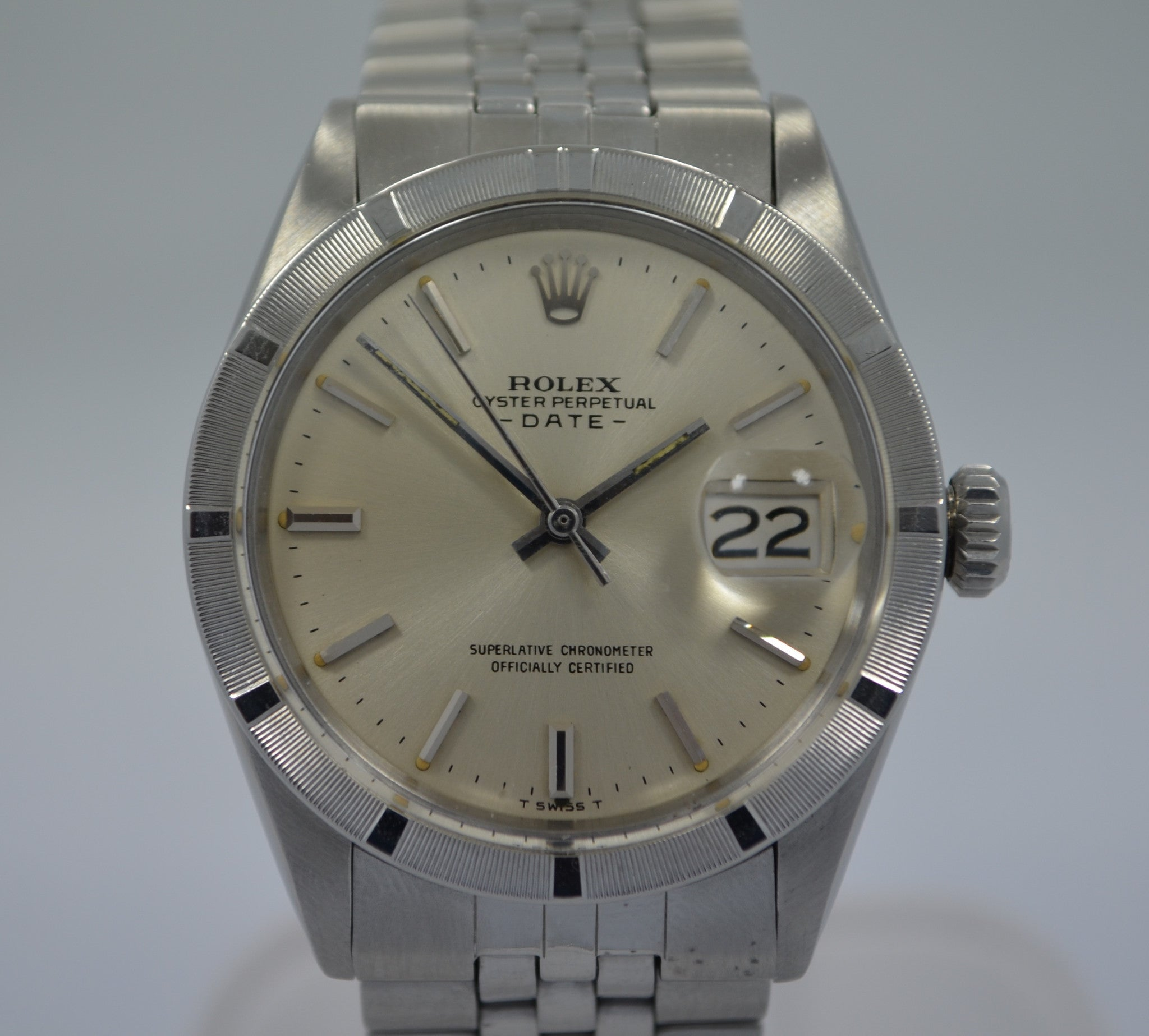 Vintage Rolex 1501 Oyster Perpetual Date 1968 Stainless Steel Silver Wristwatch
