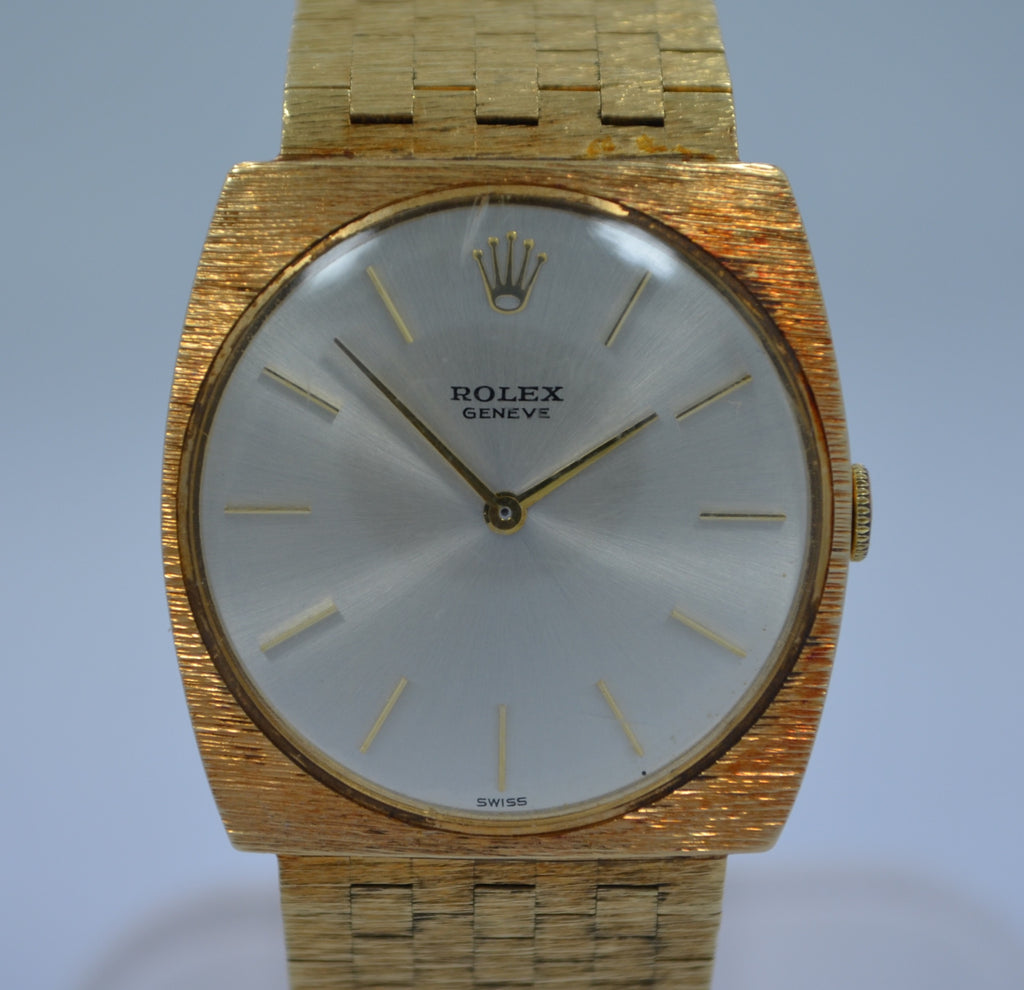Vintage Rolex 14K Yellow Gold Brick Square Manual Wind 604 Wristwatch 1970's