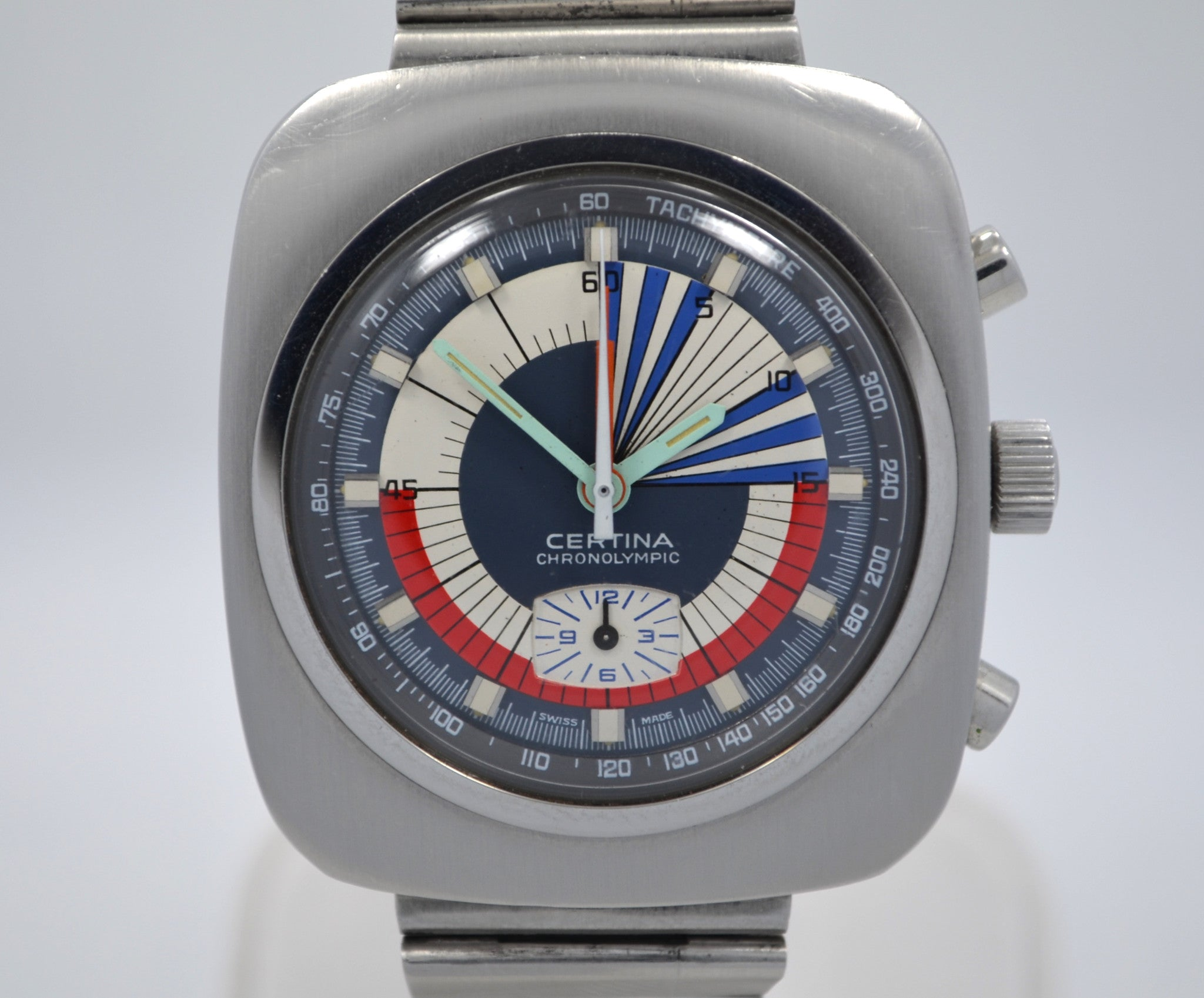 Vintage Certina Chronolympic Regatta Valjoux 728 Chronograph Steel Wristwatch
