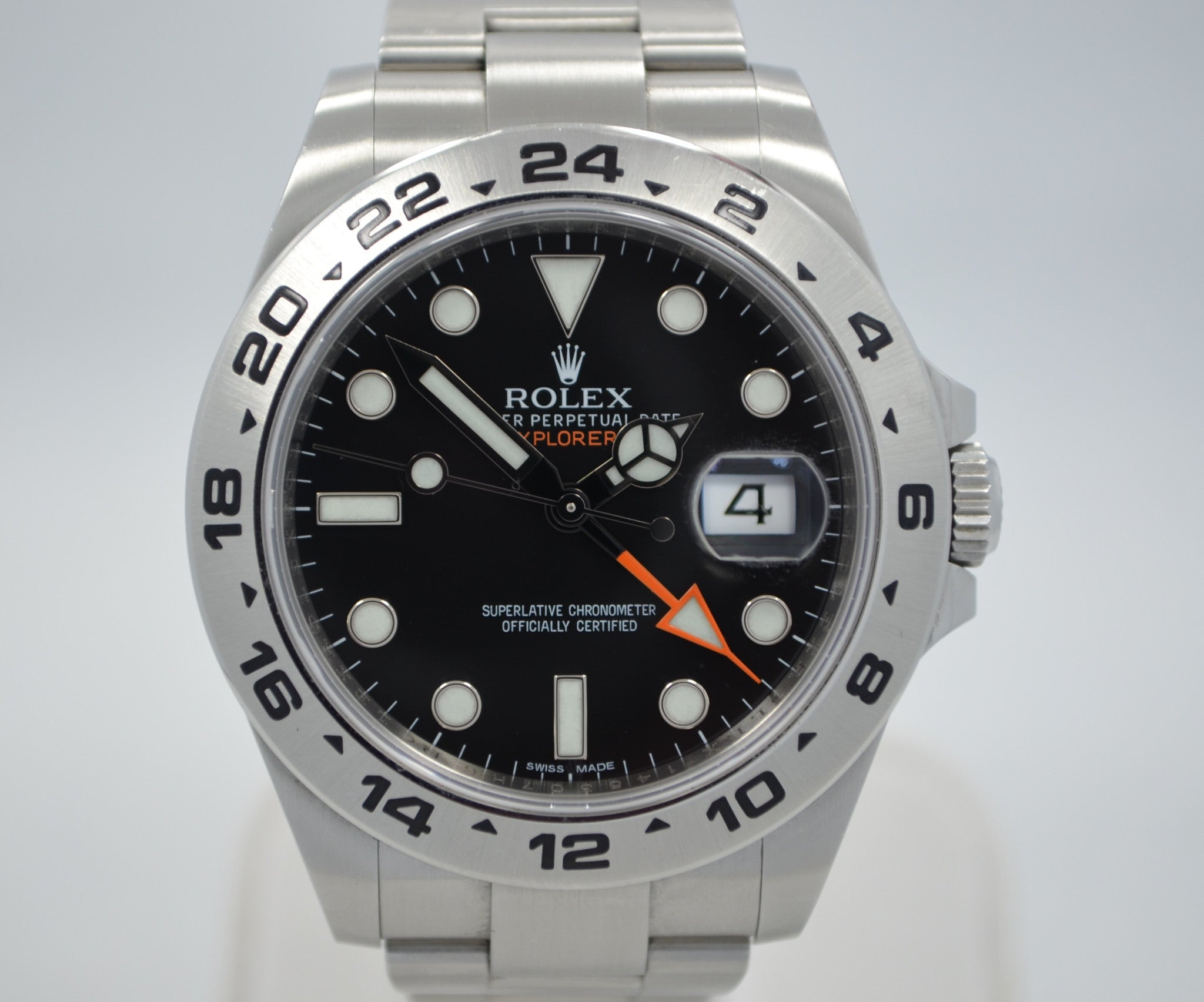 Rolex Explorer II 216570 Steel Black Orange Hand GMT Wristwatch Box Papers