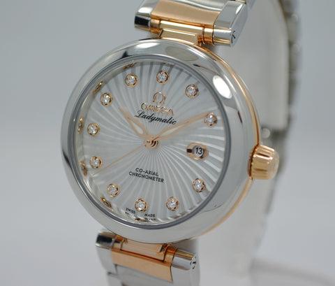 Omega Ladymatic DeVille 425.20.34.20.55.001 Steel Red Gold MOP Diamond Watch