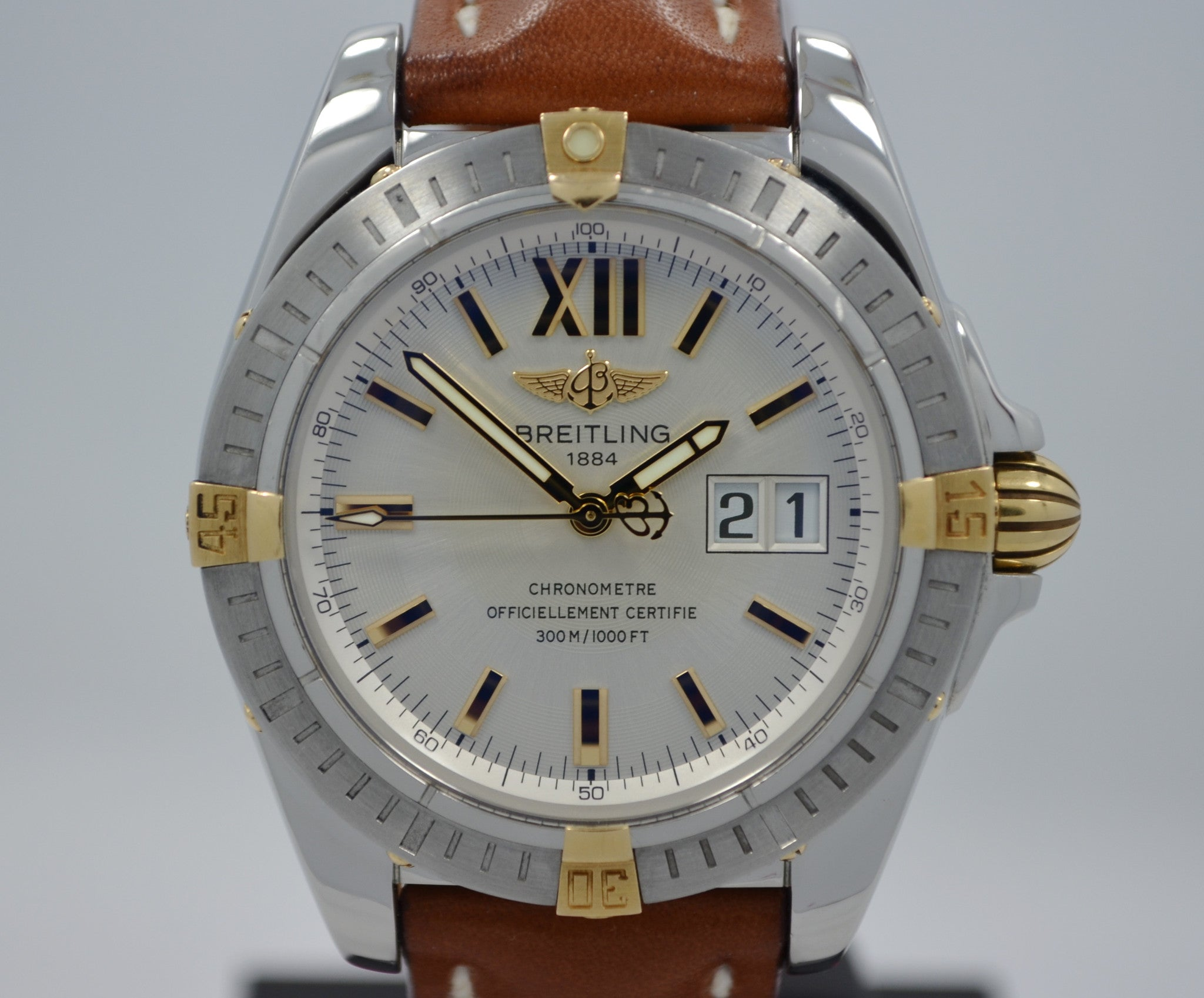 Breitling Galactic 41 B49350 Steel 18K Gold Automatic Chronometer Wristwatch