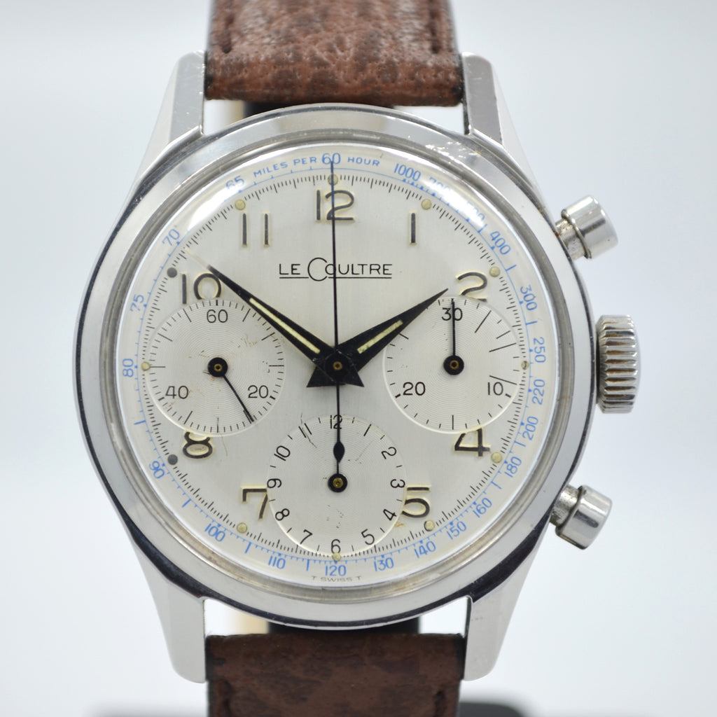 Vintage LeCoultre Stainless Steel Chronograph Valjoux 72 Wristwatch 1960's