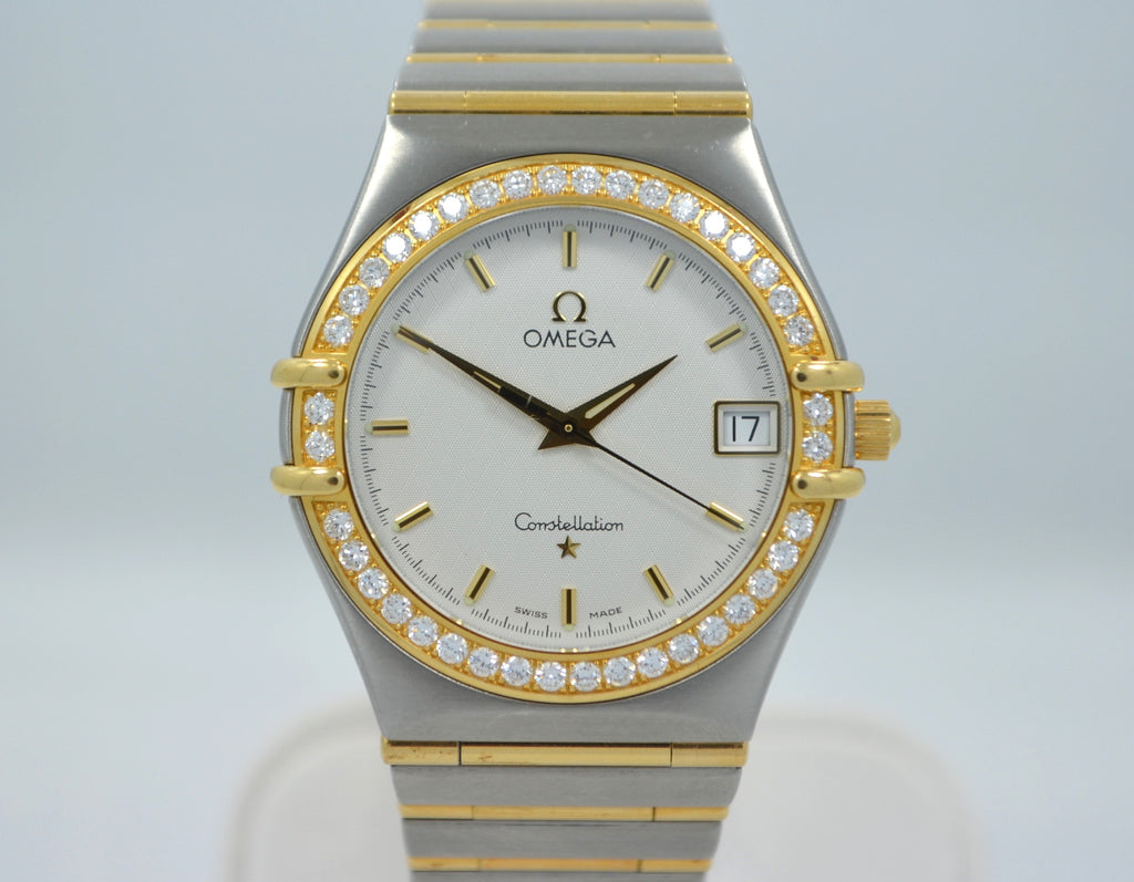 Omega Constellation Two Tone Diamond Bezel Steel 18K Gold Quartz Ladies Watch - Hashtag Watch Company